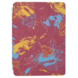 Red and orange with blue collage iPad air cover