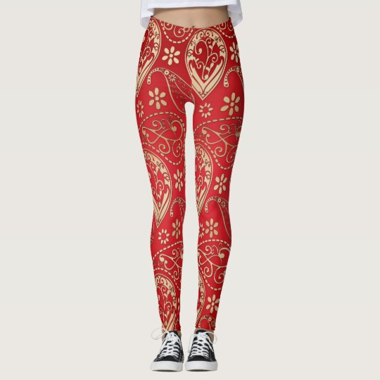 Red And Pale Gold Paisley Leggings