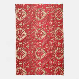 Red And Pale Gold Paisley Tea Towel