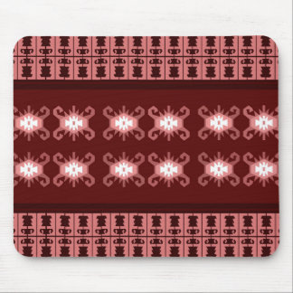 "Red and pale pink Balkan kilim ""Turtle"" inspired Mouse Pad"