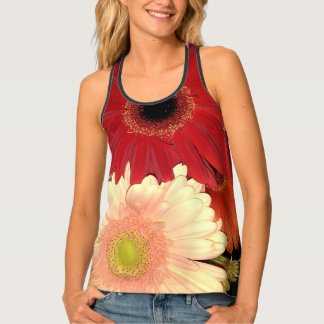 Red and Peach Gerbera Daisy Tank Top