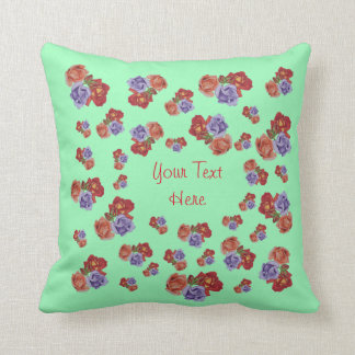 Red and peach rose bunches of flowers art design throw cushion