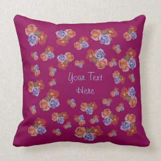 Red and peach rose bunches of flowers art design throw cushions