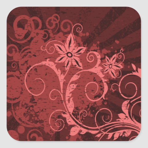 Red and Pink Abstract Flower Sticker