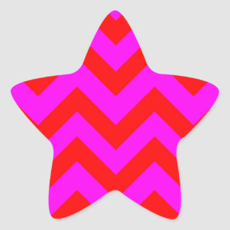 Red And Pink Chevrons Star Sticker