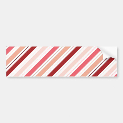Red and Pink Diagonal Stripes Valentine's Day Gift Bumper Sticker