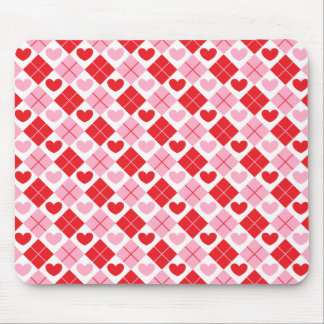 Red and Pink Diamonds & Hearts Mouse Pads