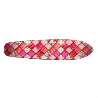 Red and Pink Faux Patchwork Quilting Pattern Skate Deck