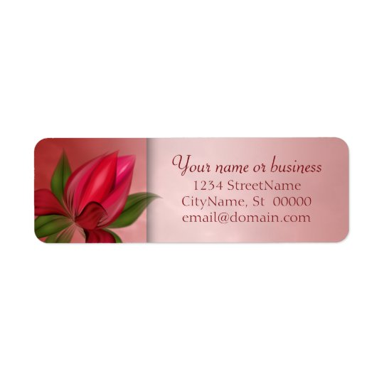 Red and Pink Floral Marble Return Address Label