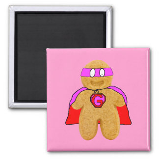 red and pink gingerbread man super hero magnet