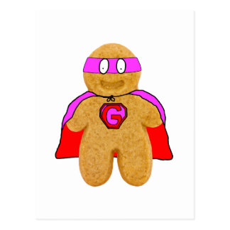 red and pink gingerbread man super hero postcard