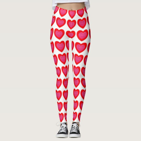 RED AND PINK HEART LEGGINGS