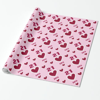 Red and Pink HEARTS Modern 21st Birthday S02 Wrapping Paper