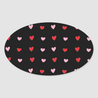 Red and Pink Hearts Oval Sticker