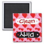 Red and Pink Hearts Valentine's Day Pattern Square Magnet