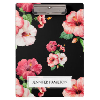 Red and Pink Hibiscus white label personalised Clipboard