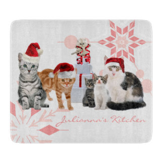 Red and Pink Holiday Cats Custom Name Cutting Board