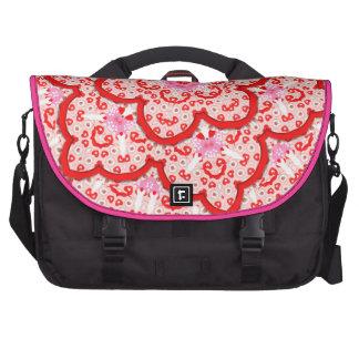 Red and Pink Modern Stylish Flower Design Laptop Bag