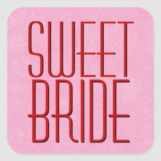 Red and Pink Modern SWEET BRIDE Stickers