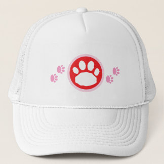 Red and Pink Paw Prints Pet Parent's Trucker Hat