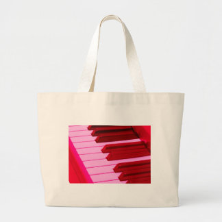 Red and Pink Piano or Organ Keyboard Large Tote Bag