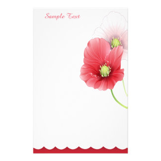 Red And Pink Poppies Stationery
