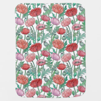 Red and pink Poppy flowers seamless pattern Buggy Blanket