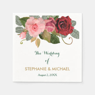 Red and Pink Rose Border Wedding Disposable Serviettes