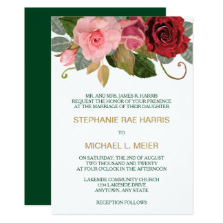 Red And Pink Rose Border Wedding Invitation