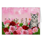 Red and Pink Rose Garden with Tabby Cat Blank Card