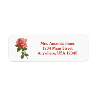 Red and Pink Rose | Personalized Return Address Label