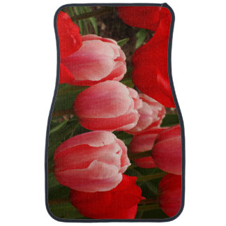 Red and Pink Tulips Floor Mat