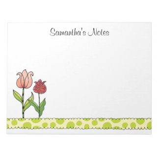 Red and Pink Tulips Personalized 11 x 8.5 Notepad