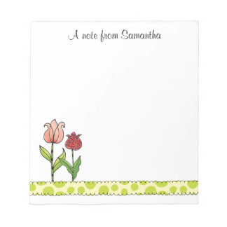 Red and Pink Tulips Personalized 5.5 x 6 Notepad