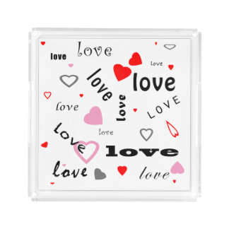 red and pink typography text design love hearts acrylic tray