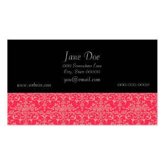 Red and PInk Victorian Damask Style Pattern Double-Sided Standard Business Cards (Pack Of 100)