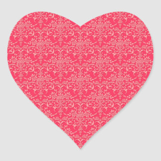 Red and PInk Victorian Damask Style Pattern Heart Sticker