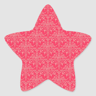 Red and PInk Victorian Damask Style Pattern Star Sticker