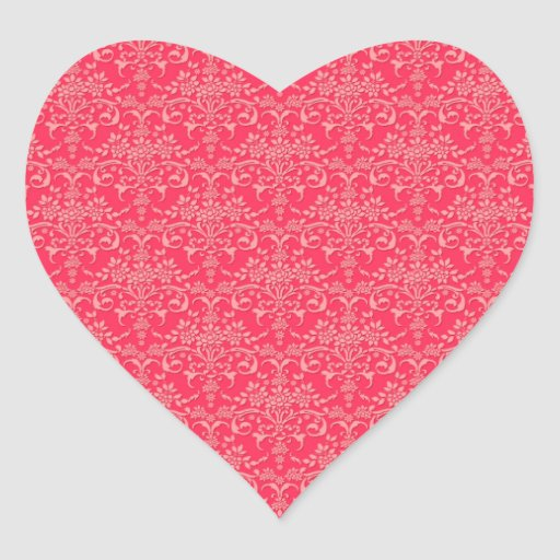 Red and PInk Victorian Damask Style Pattern Heart Stickers