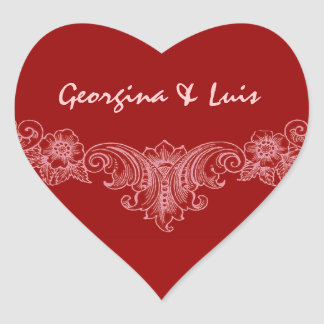Red and Pink Vintage Wedding Bride Groom S540 Heart Sticker