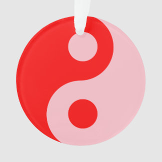 Red and Pink Yin Yang Symbol Ornament
