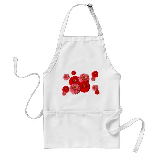 Red and Pink Zinnias apron