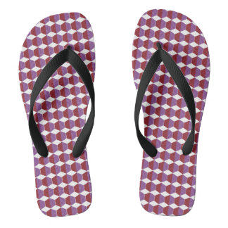 Red and Purple Abstract Print Flip Flops