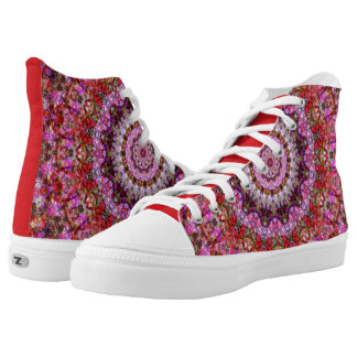 Red and Purple Floral Mandala Kaleidoscope Printed Shoes