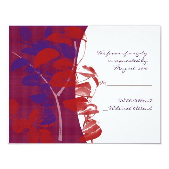 Red and Purple Leaf Design Response Card