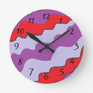 Red and Purple Round Clock