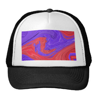 Red and Purple Spiral Waves Abstract Art Design Trucker Hat