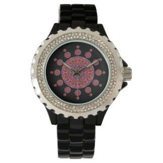 Red and Purple Tulip Mandala Fractal Watch
