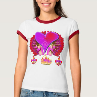 Red and purple wings and hearts Ringer T-Shirt