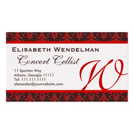 Red And Rich Brown Musicians Name Cards Business Card